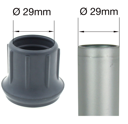 29mm Rounded Domed Based Grey Rubber Ferrule