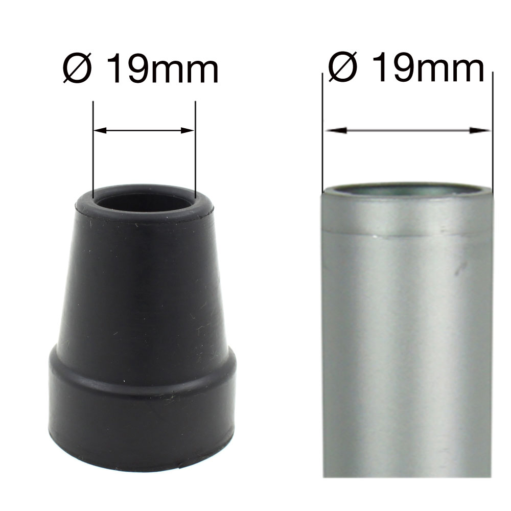 Mm replacement black rubber ferrules aluminium walking