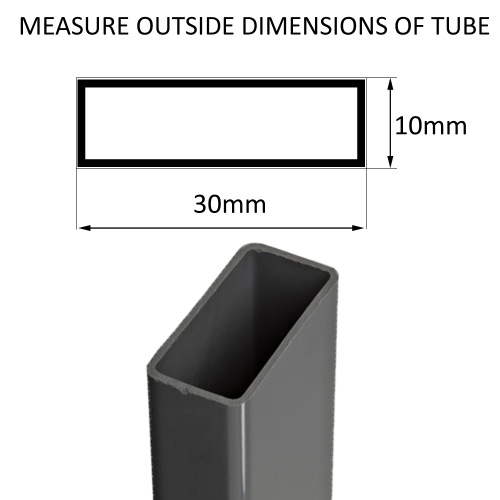 [ 30mm x 10mm ] Rectangular Tube Ribbed Inserts For Legs Of Desks, Table & Chairs