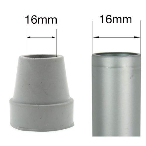16mm (5/8'') SMALL GREY FERRULES FOR QUAD CANES
