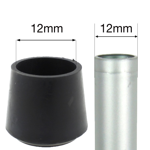 12mm MULTI PURPOSE RUBBER BOTTOMS FOR TABLE & CHAIR LEGS & ALL OTHER TUBULAR FEET