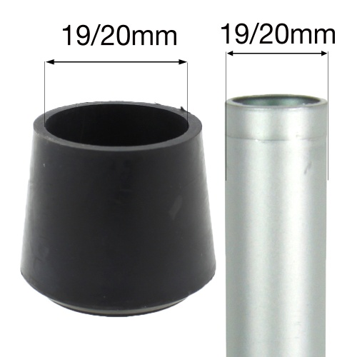 19/20mm MULTI PURPOSE RUBBER BOTTOMS FOR TABLE & CHAIR LEGS & OTHER TUBULAR FEET