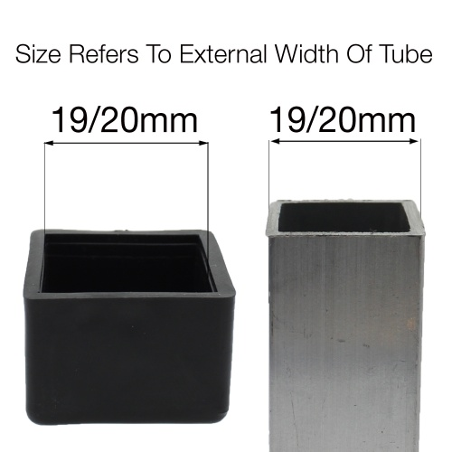 19/20mm SQUARE FERRULES FOR  TABLE & CHAIR LEGS & ALL OTHER SQUARE TUBULAR FEET