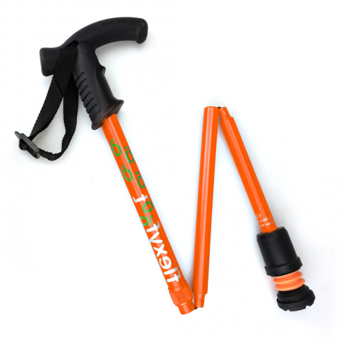 Flexyfoot Derby Handle Folding Walking Stick - Orange