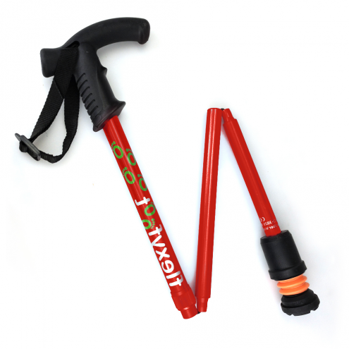 Flexyfoot Derby Handle Folding Walking Stick - Red