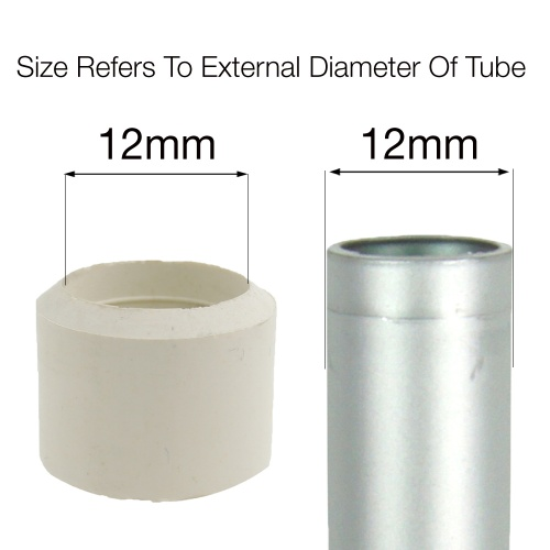 12mm WHITE RUBBER FERRULES FOR TABLE & CHAIR LEGS & ALL OTHER TUBULAR FEET