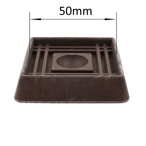 50mm BROWN SQUARE RUBBER CASTER CUP | PROTECT YOUR FLOORING