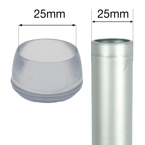25mm PLASTIC BOTTOMS FOR TABLE & CHAIR LEGS & ALL OTHER TUBULAR FEET