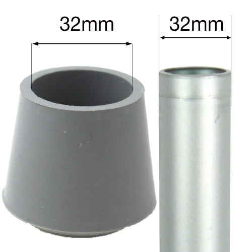 32mm MULTI PURPOSE RUBBER BOTTOMS FOR TABLE & CHAIR LEGS & ALL OTHER TUBULAR FEET