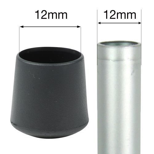 12mm MULTI PURPOSE PLASTIC BOTTOMS FOR TABLE & CHAIR LEGS & ALL OTHER TUBULAR FEET