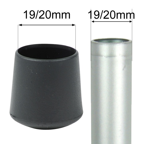 19/20mm MULTI PURPOSE PLASTIC BOTTOMS FOR TABLE & CHAIR LEGS & OTHER TUBULAR FEET