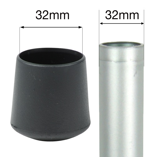 32mm MULTI PURPOSE PLASTIC BOTTOMS FOR TABLE & CHAIR LEGS & ALL OTHER TUBULAR FEET