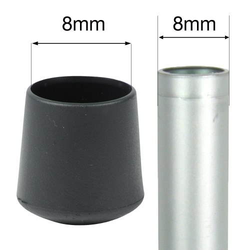 8mm MULTI PURPOSE PLASTIC BOTTOMS FOR TABLE & CHAIR LEGS & ALL OTHER TUBULAR FEET