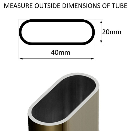 { 40mm x 20mm } Oval Tube Ribbed Inserts For Legs Of Desks, Table & Chairs