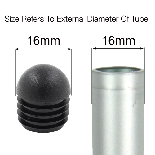 16mm ROUND DOMED RIBBED INSERTS END CAPS FOR ANGLED CHAIR LEGS