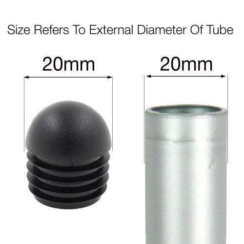 20mm ROUND DOMED RIBBED INSERTS END CAPS FOR ANGLED CHAIR LEGS