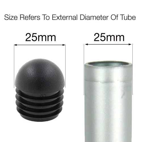 25mm ROUND DOMED RIBBED INSERTS END CAPS FOR ANGLED CHAIR LEGS