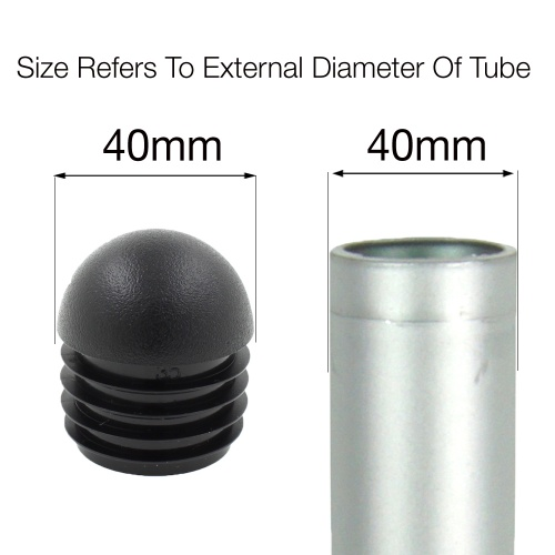 40mm ROUND DOMED RIBBED INSERTS END CAPS FOR ANGLED CHAIR LEGS