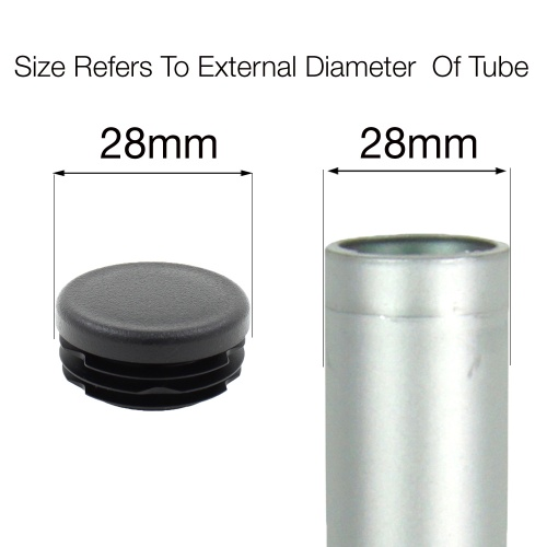 28mm ROUND RIBBED INSERTS END CAPS FOR DESKS, TABLES & CHAIR LEGS