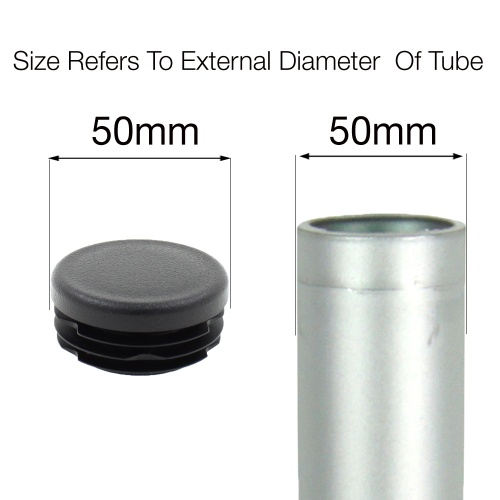 50mm ROUND RIBBED INSERTS END CAPS FOR DESKS, TABLES & CHAIR LEGS