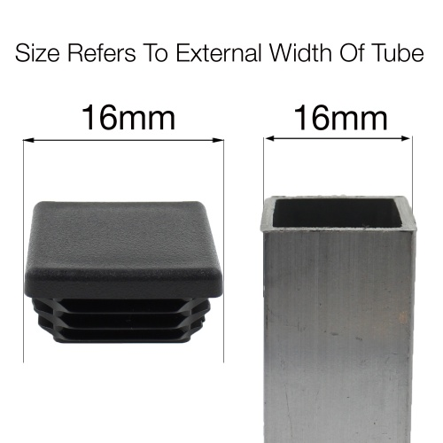 16mm SQUARE TUBE RIBBED INSERTS END CAPS FOR DESKS, TABLES & CHAIR LEGS