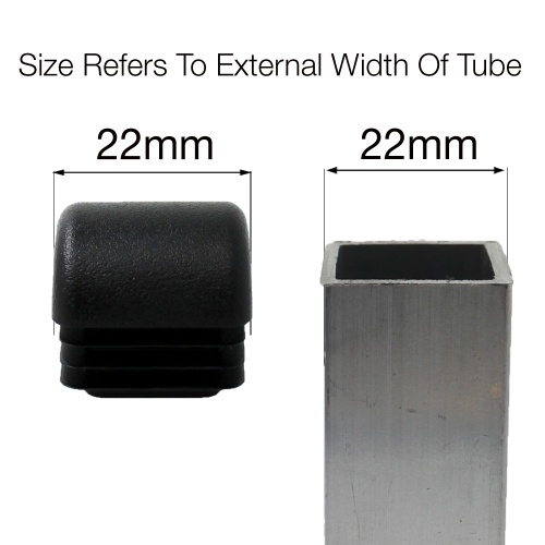 22mm SQUARE DOMED RIBBED INSERTS END CAPS FOR ANGLED CHAIR LEGS