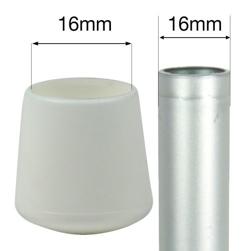 16mm MULTI PURPOSE PLASTIC BOTTOMS FOR TABLE & CHAIR LEGS & ALL OTHER TUBULAR FEET