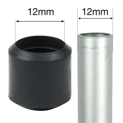 12mm BLACK RUBBER FERRULES FOR TABLE & CHAIR LEGS & ALL OTHER TUBULAR FEET