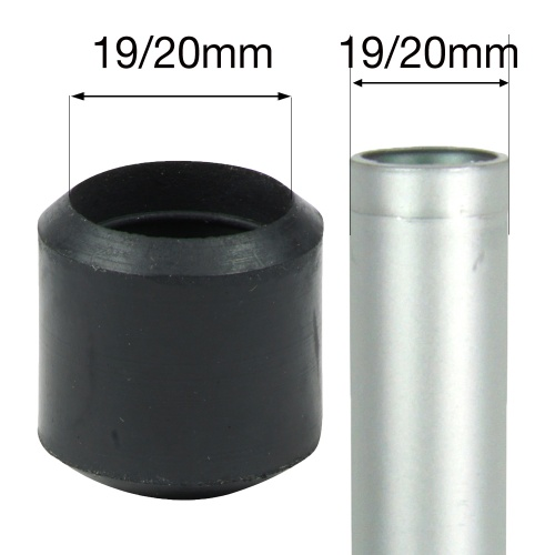19/20mm BLACK RUBBER FERRULES FOR TABLE & CHAIR LEGS & ALL OTHER TUBULAR FEET